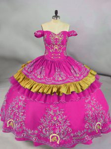 Romantic Sleeveless Floor Length Embroidery Side Zipper Quince Ball Gowns with Fuchsia