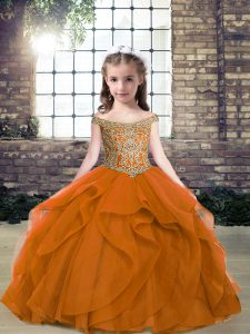 Smart Off The Shoulder Sleeveless Organza and Tulle Kids Formal Wear Beading Lace Up