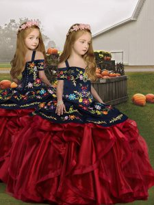 Enchanting Floor Length Wine Red Little Girls Pageant Gowns Straps Sleeveless Lace Up