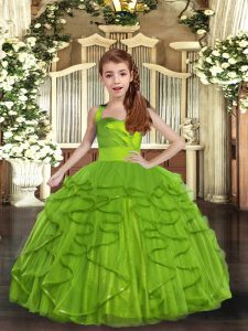 Sleeveless Ruffles Lace Up Pageant Dress