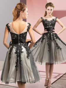 Knee Length Black Dama Dress for Quinceanera Scoop Sleeveless Zipper