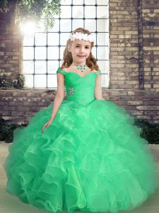 Custom Made Apple Green Ball Gowns Organza Straps Sleeveless Beading and Ruffles and Ruching Floor Length Lace Up Kids Pageant Dress