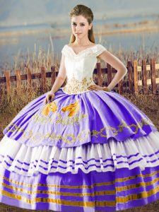 Captivating White And Purple Satin Lace Up Sweet 16 Dresses Sleeveless Floor Length Embroidery and Ruffled Layers