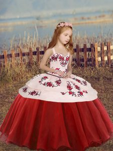 Classical Red Ball Gowns Embroidery Girls Pageant Dresses Lace Up Organza Sleeveless Floor Length