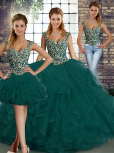 Smart Sleeveless Beading and Ruffles Lace Up Quince Ball Gowns