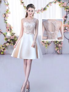 Champagne Lace Up Scoop Lace and Belt Quinceanera Dama Dress Satin Sleeveless