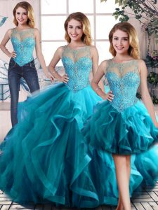 Scoop Sleeveless Quince Ball Gowns Floor Length Beading and Ruffles Aqua Blue Tulle