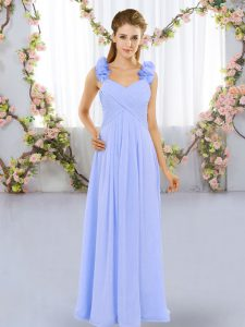 Romantic Lavender Lace Up Straps Hand Made Flower Quinceanera Court Dresses Chiffon Sleeveless