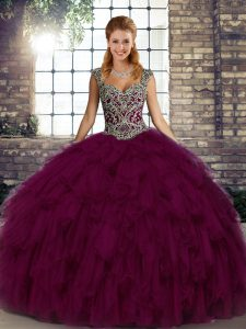 Great Floor Length Lace Up Quinceanera Gowns Dark Purple for Military Ball and Sweet 16 and Quinceanera with Beading and Ruffles