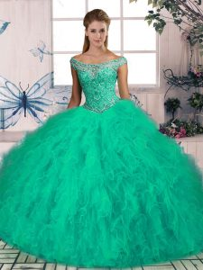 Superior Brush Train Ball Gowns Quinceanera Gown Turquoise Off The Shoulder Tulle Sleeveless Lace Up