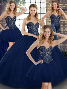Navy Blue Sweetheart Lace Up Beading 15 Quinceanera Dress Sleeveless