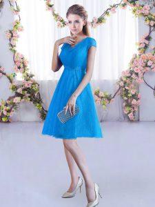 New Arrival V-neck Cap Sleeves Vestidos de Damas Mini Length Lace Baby Blue Lace