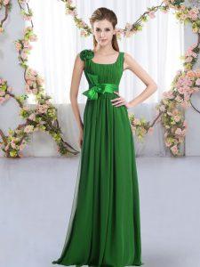 Belt and Hand Made Flower Dama Dress Dark Green Zipper Sleeveless Floor Length