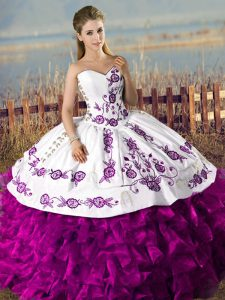 White And Purple Sweetheart Neckline Embroidery and Ruffles 15th Birthday Dress Sleeveless Lace Up