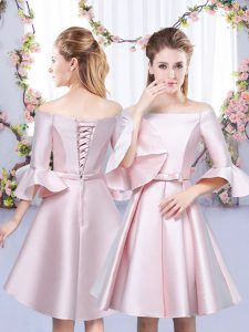 Sophisticated Baby Pink A-line Satin Off The Shoulder 3 4 Length Sleeve Bowknot Mini Length Lace Up Dama Dress for Quinceanera