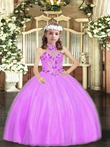 Tulle Halter Top Sleeveless Lace Up Appliques Little Girls Pageant Gowns in Lilac