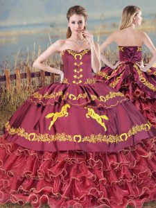 Burgundy Lace Up Sweet 16 Dress Embroidery and Ruffled Layers Sleeveless Brush Train