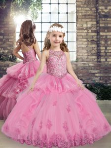 Sleeveless Floor Length Beading and Appliques Lace Up Kids Formal Wear with Lilac