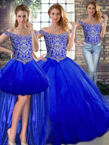 Latest Royal Blue Three Pieces Beading and Ruffles Quince Ball Gowns Lace Up Tulle Sleeveless Floor Length