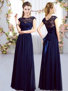 Cap Sleeves Chiffon Floor Length Zipper Dama Dress in Navy Blue with Lace and Belt