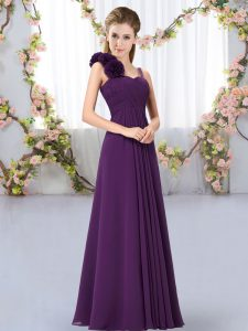 Shining Dark Purple Lace Up Quinceanera Dama Dress Hand Made Flower Sleeveless Floor Length