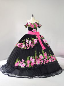 Exceptional Black Ball Gowns Tulle Off The Shoulder Sleeveless Embroidery Lace Up Quinceanera Dress Brush Train