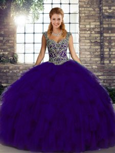 Extravagant Purple Sleeveless Beading and Ruffles Floor Length Ball Gown Prom Dress