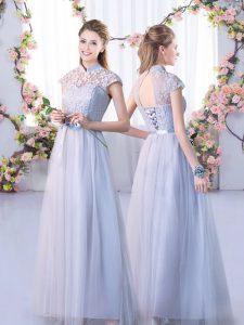 Low Price Grey Lace Up High-neck Lace Vestidos de Damas Tulle Cap Sleeves