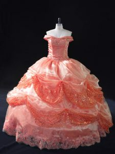 Noble Watermelon Red Off The Shoulder Neckline Beading and Sequins Sweet 16 Dresses Sleeveless Lace Up