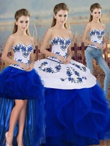 Tulle Sweetheart Sleeveless Lace Up Embroidery and Ruffles and Bowknot Vestidos de Quinceanera in Royal Blue