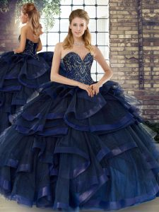 Superior Sleeveless Tulle Floor Length Lace Up Quinceanera Gowns in Navy Blue with Beading and Ruffles