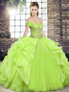 Cute Yellow Green Lace Up Off The Shoulder Beading and Ruffles Vestidos de Quinceanera Organza Sleeveless