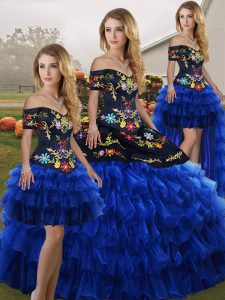 Sophisticated Off The Shoulder Sleeveless Lace Up Sweet 16 Quinceanera Dress Blue And Black Organza