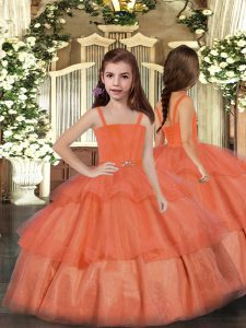 Fashionable Orange Red Lace Up Little Girl Pageant Gowns Ruffled Layers Sleeveless Floor Length