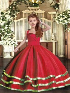 High Class Tulle Sleeveless Floor Length Kids Pageant Dress and Ruffled Layers and Ruching