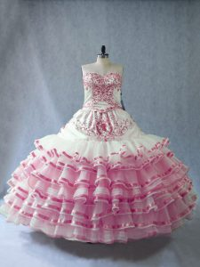 Designer Embroidery and Ruffled Layers and Bowknot Sweet 16 Dress Pink And White Lace Up Sleeveless Floor Length