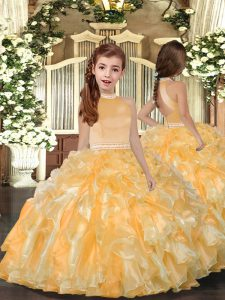 Gold Sleeveless Organza Backless Little Girls Pageant Dress Wholesale for Prom and Sweet 16 and Wedding Party