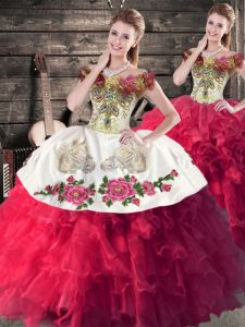 Pretty Pink And White Sleeveless Satin and Organza Lace Up Quinceanera Gowns for Sweet 16 and Quinceanera