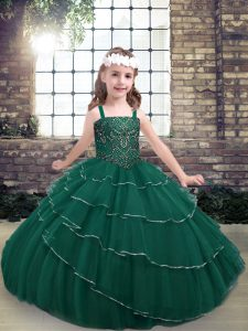 Straps Sleeveless Lace Up Pageant Dress for Teens Peacock Green Lace