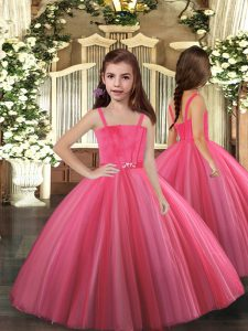 Hot Pink Straps Lace Up Beading Child Pageant Dress Sleeveless