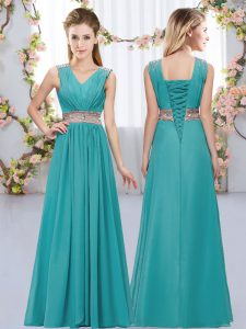 Artistic Teal Chiffon Lace Up V-neck Sleeveless Floor Length Court Dresses for Sweet 16 Beading and Belt