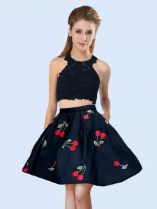 Mini Length Two Pieces Sleeveless Black Quinceanera Court Dresses Lace Up