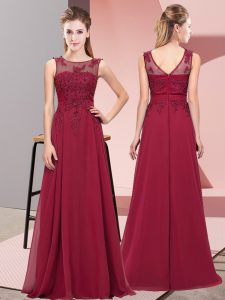 Cheap Floor Length Burgundy Damas Dress Chiffon Sleeveless Beading and Appliques