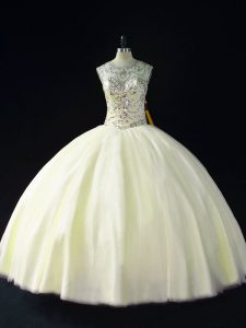 Cheap Sleeveless Tulle Floor Length Lace Up Quinceanera Gown in Light Yellow with Beading