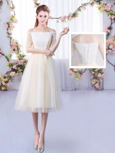 New Style Tulle Off The Shoulder Half Sleeves Lace Up Lace Vestidos de Damas in Champagne