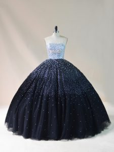 Inexpensive Strapless Sleeveless Lace Up Quinceanera Dresses Black Tulle