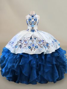 Blue And White Ball Gowns Halter Top Sleeveless Organza Floor Length Lace Up Embroidery and Ruffles Ball Gown Prom Dress