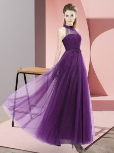 Unique Floor Length Dark Purple Dama Dress for Quinceanera Halter Top Sleeveless Lace Up