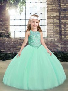 Sexy Scoop Sleeveless Little Girls Pageant Dress Wholesale Floor Length Beading Apple Green Tulle