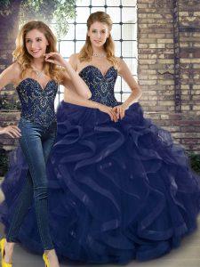 Navy Blue Sleeveless Beading and Ruffles Floor Length Ball Gown Prom Dress
